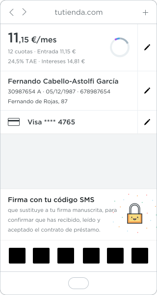introduce tu código SMS